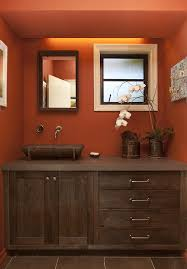 painted terra cotta bathrooms bathroom rustic with blue bench