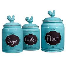 Cool Kitchen Canisters Ideas Vintage Aqua Rooster Chalkboard Kitchen Canisters For