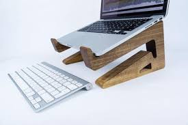 Laptop Desk Holder Walnut Wood Macbook Stand Galen Leather