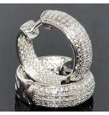 men diamond earrings 14k gold hoop earrings solid gold 7mm wide rope ornate pattern on