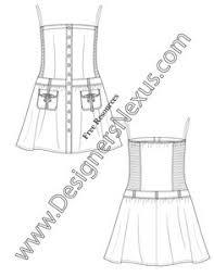 006 fashion flat sketch sleeveless kimono dress smocked waist