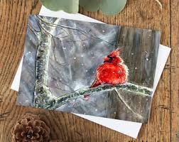 cardinal cards etsy