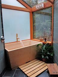 wooden soaking tub with japanese style in small bathroom bathroom