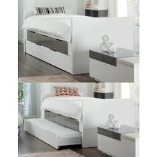 Bed With Pull Out Bed Buddy Bed With Storage Drawers And Pull Out Bed Stone And White By