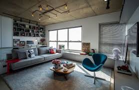 Concrete Loft Concrete Cement And Creative Lighting Space Savvy Apartment In