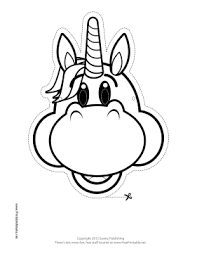 happy unicorn mask to color printable mask free to download and