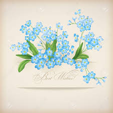 wedding greeting card blue flowers forget me not greeting card floral postcard