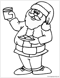 Santa Loves His Milk And Cookies On Christmas Eve Coloring Page Coloring Cookies