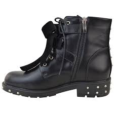 ladies leather biker boots new womens ladies studded lace up ankle boots buckle biker goth