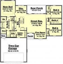 Ranch Floor Plans Open Concept Floor Plan Ranch Style House Plan 3 Beds 2 Baths 1500 Sq Ft Plan