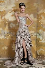 champagne high low prom dresses cheap with front slit gg1052 1st