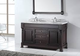 Guest Bathroom Vanity by Scenic Espresso Painted Wooden 60 Inch Double Sink Vanity Added