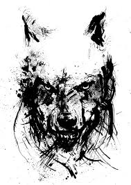 angry wolf black and white art ink drawing animal art ink