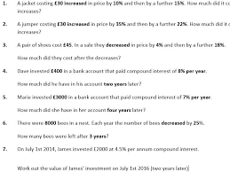 repeated percentage change and compound interest worksheet and powerpoint