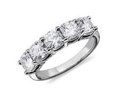 classic cushion cut five stone diamond ring in platinum 2 1 2 ct