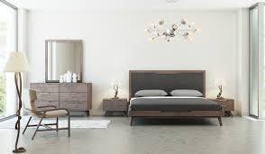 domus soria mid century grey u0026 walnut bedroom set