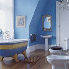 home design blue bathroom with tub and sink and mirror then
