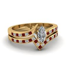yellow gold wedding sets twist channel marquise diamond wedding set with ruby in 14k yellow