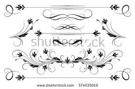set vintage ornament decorative divider greeting stock vector