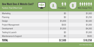 how much does a website cost infographic black design
