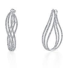 diamond hoops 5 90ctw curved diamond hoops earrings jewelers resource