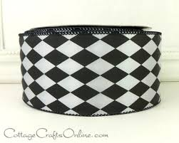 black and white wired ribbon wired ribbon 2 1 2 wide black and white harlequin diamond