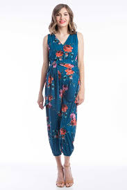 teal jumpsuit lilac clothing jumpsuit in teal floral green blue print
