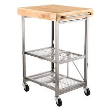 folding kitchen island cart kitchen cart origami kitchen cart the container store