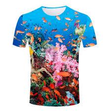 high definition summer 3d print men t shirts blue ocean t shirt