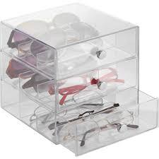 3 Drawer Desk Organizer by Interdesign Clarity Eyeglass Sunglasses Readers Case 3 Drawer