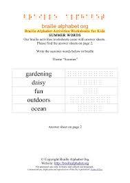 braille alphabet worksheets summer words braille alphabet org