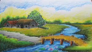 Pictures Of Landscapes by How To Draw A Village Landscape With Oil Pastel Dailymotion