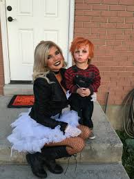halloween costumes ideas for family of 3 mom and son costume cason as chucky melissa as the bride of