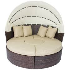 outdoor patio sofa furniture round retractable canopy daybed brown