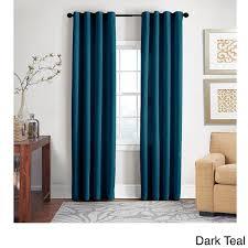 Dark Teal Curtain Panels Grand Luxe 100 Percent Linen Gotham Grommet Top Curtain Panel