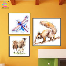 unique figure wall art for cute animals dog fox canvas painting wall art picture home decor
