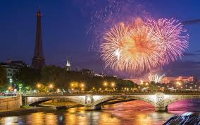 Beautiful Eiffel Tower by Bridges Night Paris Colorful Fireworks Peaceful Building Tree