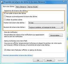 performance du bureau pour windows aero windows 7 gérer les programmes sur la barre des tâches