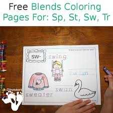 Free Blends Coloring Pages Sp St Sw Tr 3 Dinosaurs Sw Coloring Page