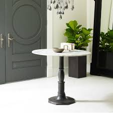 Industrial Pedestal Table French Industrial White Marble Top Round Bistro Table Zin Home