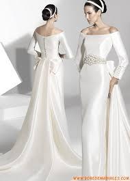 robe de mari e satin robe de mariée satin avec manches et traine amovible