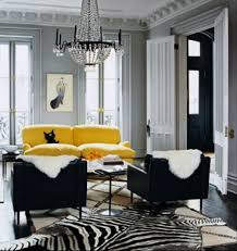 gray living room with yellow sofa and black side chairs popular