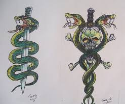 snake around skull dagger tattoo photos pictures and sketches