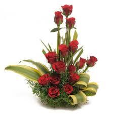 20 red roses basket
