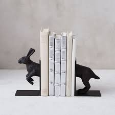 rabbit bookends metal jackrabbit bookends set of 2 west elm