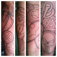 the avengers leg tattoo design photos pictures and sketches