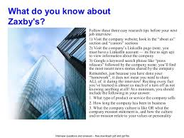 zaxby u0027s interview questions and answers