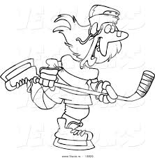 vector of a cartoon female hockey player outlined coloring page