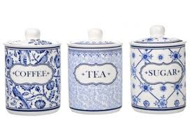 blue and white kitchen canisters coffee tea sugar canisters blue and white pottery kitchen