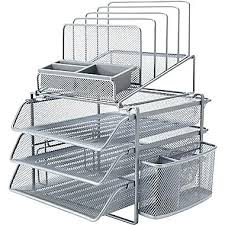 Silver Desk Accessories Silver Desk Accessories Staples All In One Silver Wire Mesh Desk